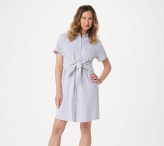 Denim & Co. Petite Seersucker Tie Front Shirt Dress