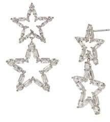 Betsey Johnson Silvertone & Crystal Star Drop Earrings