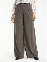 Max Studio Wide Leg Check Trousers, Beige