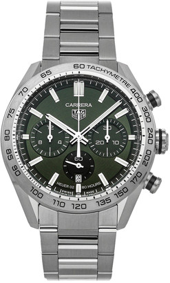 Tag Heuer Green Stainless Steel Carrera Chronograph CBN2A10. BA0643 Men's Wristwatch 44 MM