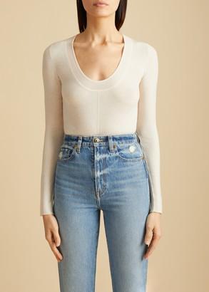 KHAITE The Clover Bodysuit in Cream
