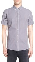 Topman Trim Fit Short Sleeve Gingham Shirt