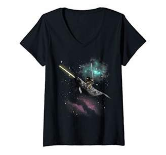 Womens Awesome Crazy Sloth Riding Narwhal in Space V-Neck T-Shirt