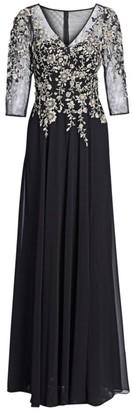 Teri Jon By Rickie Freeman Three-Quarter Sleeve Floral Embellished Gown