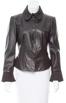 Armani Collezioni Quilted Trim Leather Jacket