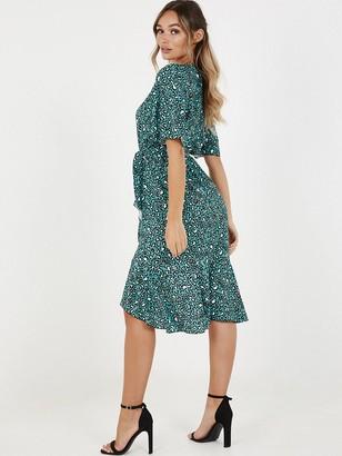 Quiz Crepe Leopard Print ShortSleeve Frill Midi Dress - Teal