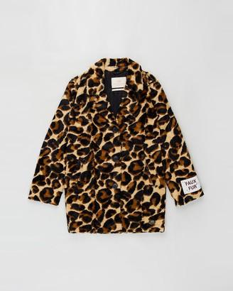 Scotch R'Belle Faux Fur Leopard Coat - Teens