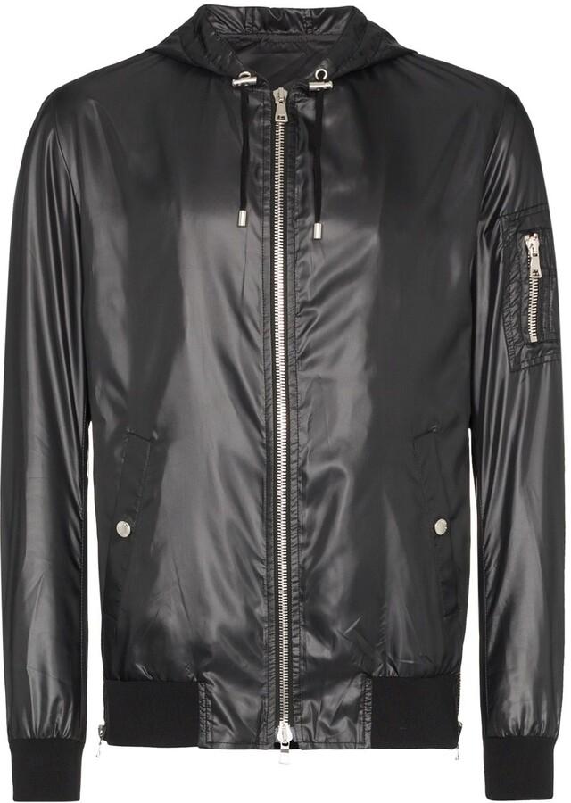 781e2fbb296 faux leather hooded jacket