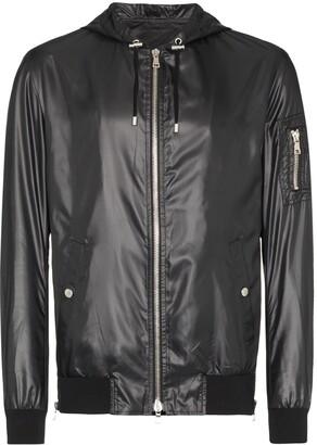 Balmain faux leather hooded jacket