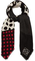 Loewe Contrast-panel polka-dot wool-blend scarf