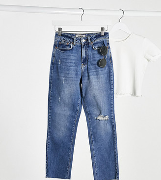 New Look Petite distressed straight leg jeans in mid blue