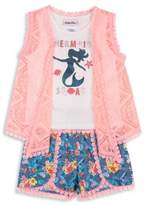 Little Lass Little Girl's Three-Piece Lace Vest, Tank Top and Printed Shorts Set