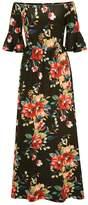 Cellabie CELLABIE Women's Maxi Dresses Black - Black Floral Bell-Sleeve Off-Shoulder Dress - Women