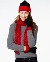Calvin Klein Two-Tone Logo Hat, Gloves, and Scarf Gift Set
