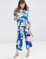 Asos Satin Floral Print Co-ord Wide Leg Pants