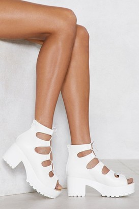 Nasty Gal Womens White Heel Sandal with Cleated Platform Sole
