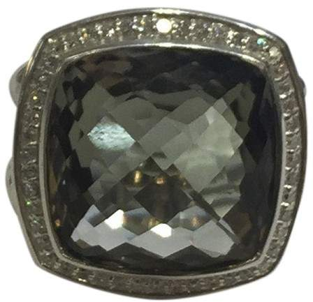 David Yurman Albion Sterling Silver Prasiolite and Diamonds Ring Size 7.5