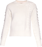Edun Cable-knit embellished wool sweater