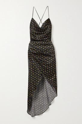 HANEY Holly Open-back Draped Polka-dot Stretch-silk Satin Dress - Black