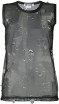 Comme des Garcons sheer cut out top - women - Polyester - S