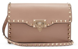 Valentino Rockstud Leather Cross-body Bag - Womens - Nude