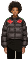 Marcelo Burlon County of Milan Black Down Cropped Chakinter Jacket