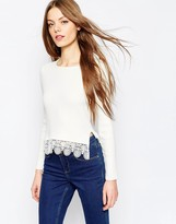 Asos Cropped Sweater In Rib With Lace Hem