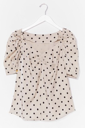 Nasty Gal Womens Spot On Your Toes Puff Sleeve Top - Beige - M
