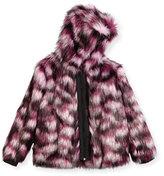 Karl Lagerfeld Hooded Faux-Fur Coat, Pink/Purple, Size 12-16