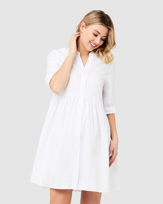 Ripe Maternity Women's White Shirt Dresses - Paige Poplin Dress - Size One Size, XS at The Iconic