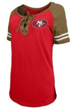5th & Ocean San Francisco 49ers Women's Logo Lace Up T-Shirt