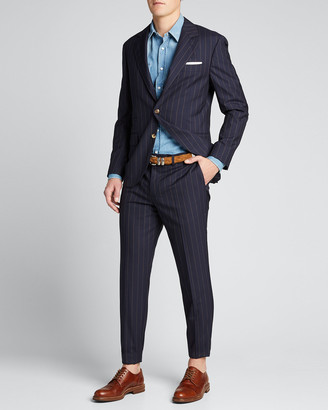 Brunello Cucinelli Men's Two-Piece Pinstriped Wool Suit