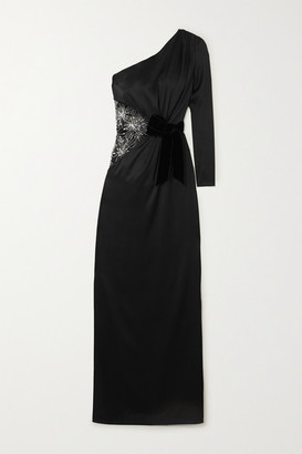 RALPH & RUSSO One-sleeve Crystal-embellished Tulle And Silk-satin Gown - Black