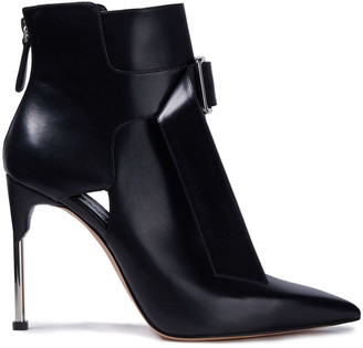 Alexander McQueen Buckled Cutout Leather Ankle Boots