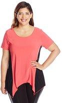 Star Vixen Women's Plus-Size Print Colorblock Sharkbite Top