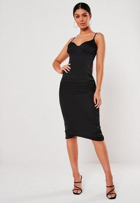 Missguided Black Satin Hook And Eye Cup Midi Dress