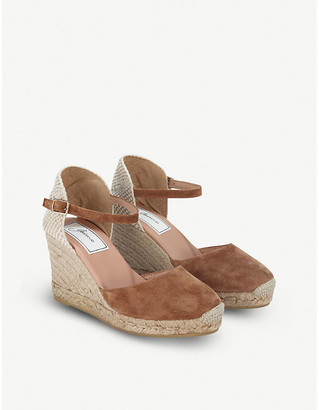 The White Company Contrast-panel suede wedge espadrilles