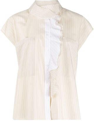 Barena Ruffled Detail Striped Shirt