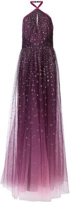 Marchesa Ombre glitter tulle halter gown