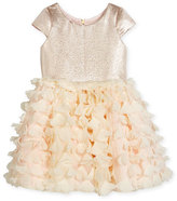 Zoe Cap-Sleeve Metallic & Chiffon Party Dress, Blush, Size 2-6