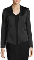Laundry by Shelli Segal Print-Trim Crepe Satin Blazer, Black
