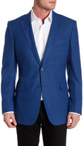 Zanetti Catania Blue Two Button Notch Lapel Trim Fit Wool Sport Coat