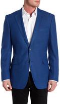 Zanetti Catania Blue Two Button Notch Lapel Trim Fit Wool Sport Coat