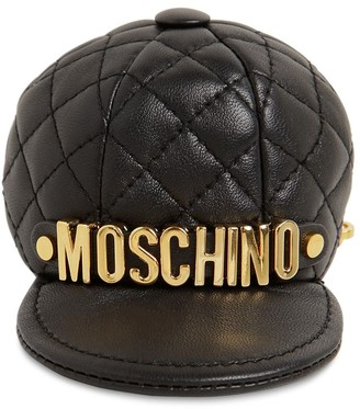 Moschino Logo Quilted Leather Hat Key Holder