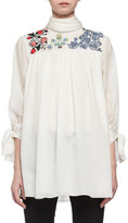 Alexander McQueen Embroidered Voile Peasant Blouse