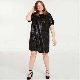 Joe Fresh Sequin Tee Dress Women+, Black (Size 3X)