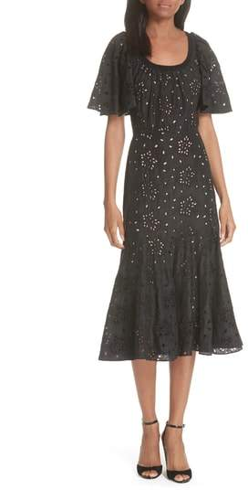 Rebecca Taylor Sarah Silk Eyelet Midi Dress