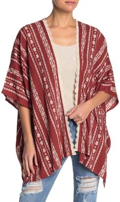 Angie Dolman Sleeve Open Front Geometric Print Kimono