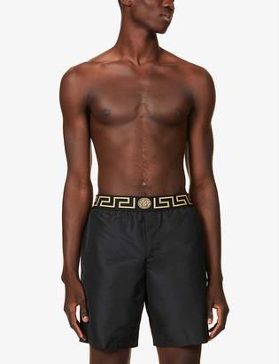 Versace Brand-print straight swim shorts