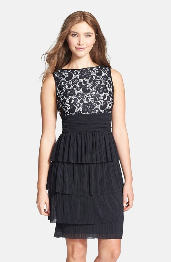 Maggy London 'Plume' Lace Bodice Tiered Dress